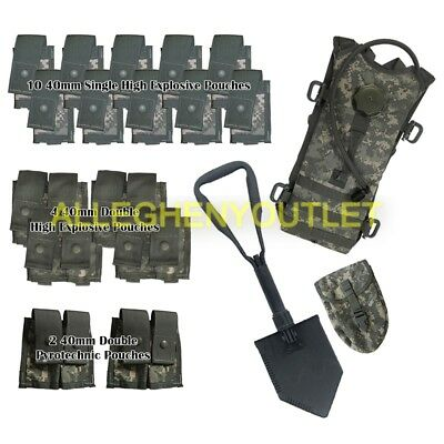 US Army ACU Grenadier Pouch Set - Hydration Pack, w/ AMES  E-tool + Cover MINT