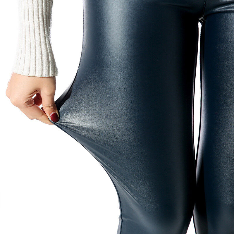 Women Sexy PU Leather Yoga Pants Hip Push Up Workout Stretch Leggings Trousers 59