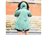 DAYMISFURRY--Rex Rabbit Fur Lined Military Parka with Raccoon Fur Hood