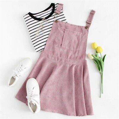 Pink Pocket Front Zip Up Back Corduroy Pinafore Dress Women New Casual Korean L