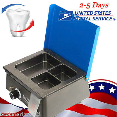 Usa- Dental Lab 3-well Wax Dipping Pot Analog Heater Melter Temperature Heating