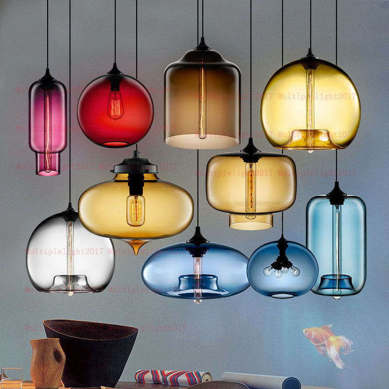 Colorful Gl Pendant Lamp Retro