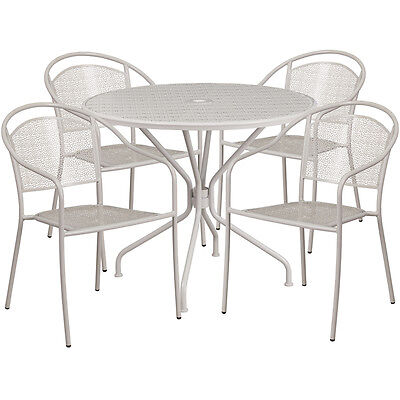 35.25 Round Light Gray Indoor-outdoor Patio Resturant Table Set W4 Chairs