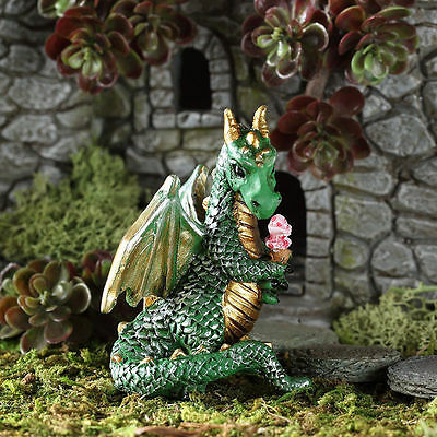 Green Ice Cream Dragon GO 17563 Miniature Fairy Garden Dollhouse
