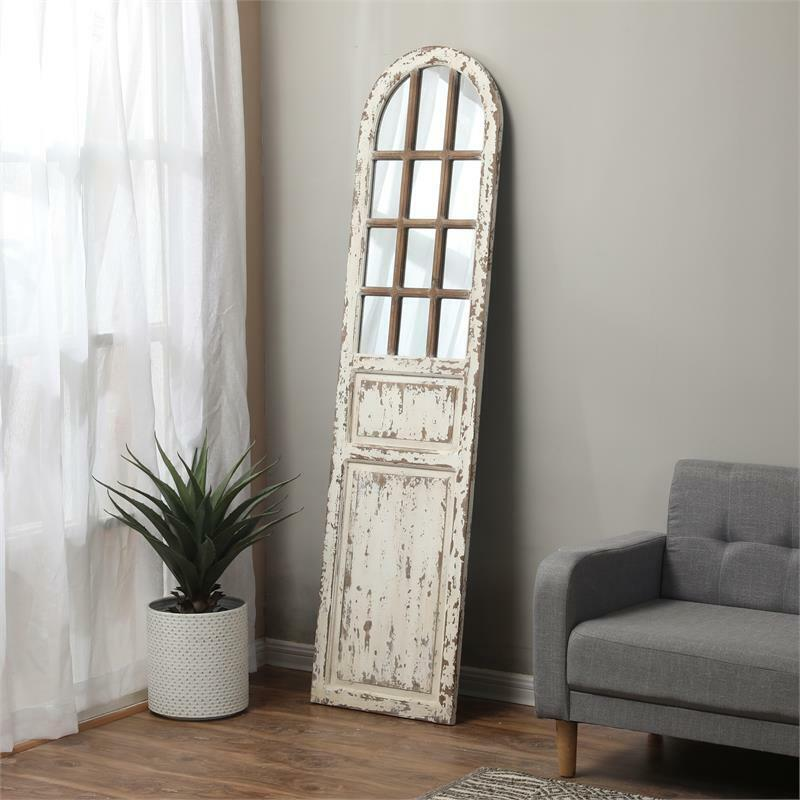Luxen Home Distressed White Wood Farmhouse Door Wall Mirror