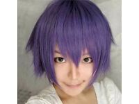 Fashion Straight Short Full Cosplay Purple Party Hair Wig