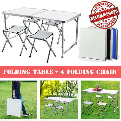 Portable Aluminum Camping Folding Table and 4 Stool Chairs Set Outdoor Picnic