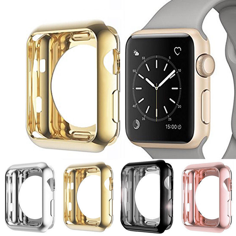official photos 11ae7 265b0 Details about For Apple Watch Series 4/3 TPU Bumper iWatch Screen Protector  Case Cover 38/44MM
