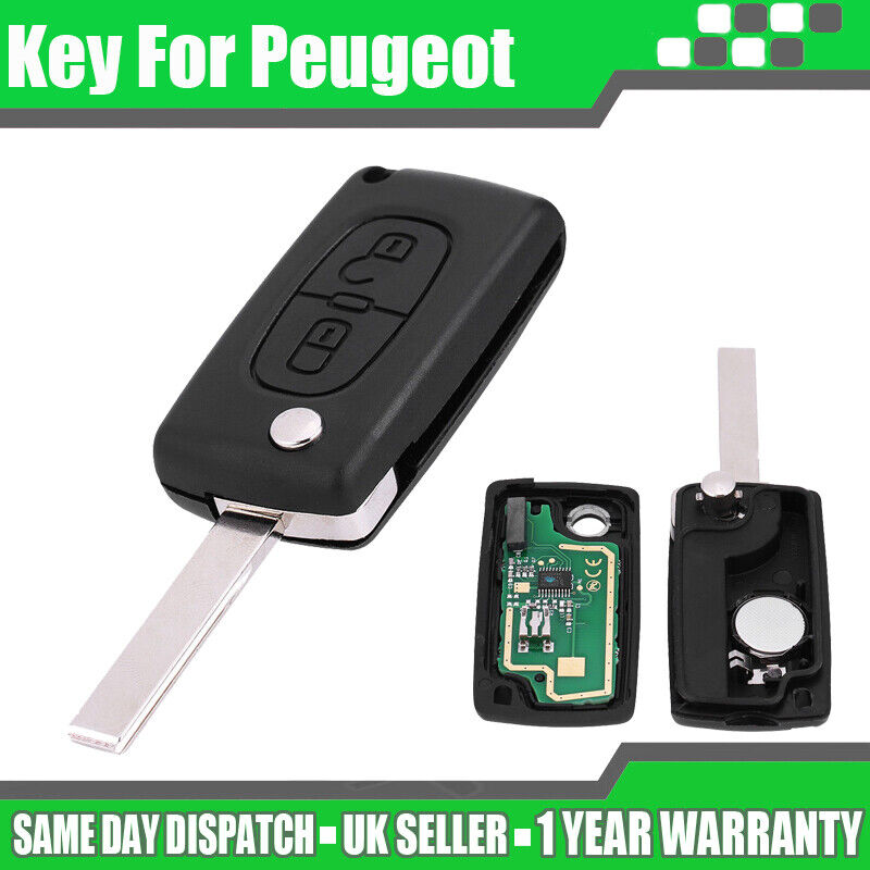 Car Parts - 2 Button Replace Remote Key Loking Fob 433MHz ID46 Chip fit Peugeot 207 307 308