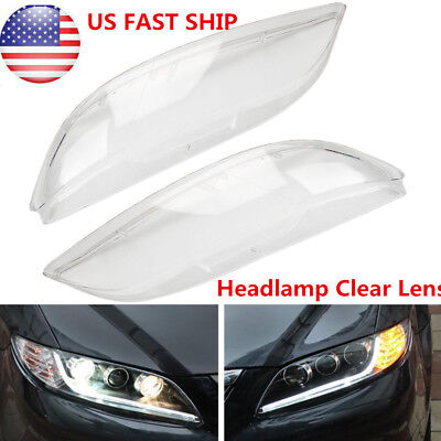 2X For Mazda 6 2003-2008 Replacement Headlight Headlamp Lens Cover Clear Shell