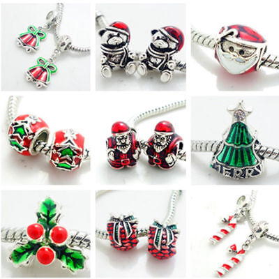 2pcs Silver Christmas European Charm Beads Fit 925 Necklace Bracelet  SQ1840 ()