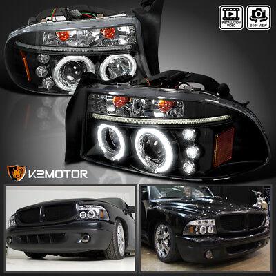 1997-2004 Dodge Dakota/Durango LED Halo Projector Headlights Black Left+Right 03 Dodge Durango Led