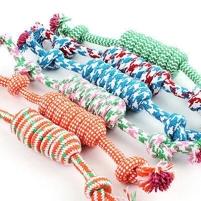 1X Puppy Dog Pet Chew Toy Cotton Braided Bone Tug Play Game Rope Knot Toy 27cm_U