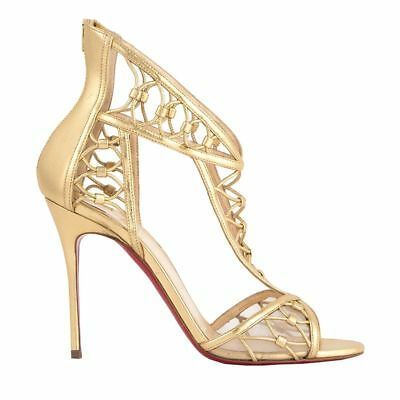 53008 auth CHRISTIAN LOUBOUTIN gold leather MARTHA Sandals Shoes 38.5