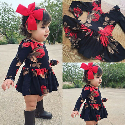 Newborn Infant Baby Girl Floral Long Sleeve Party Pageant Prom Dress Clothes USA (Baby Girl Party)