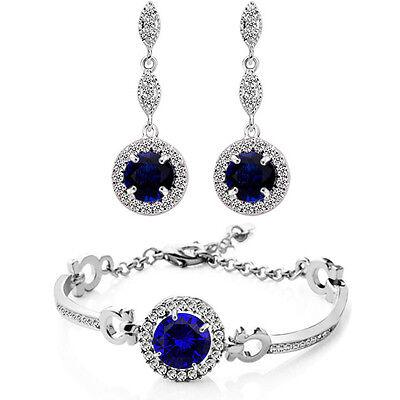 Schmuckset Braut Weiß, Saphir Blau,Rot und Grün Ohrringe & Armband ()