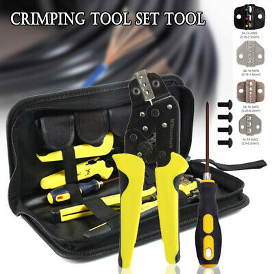 Pro Ratcheting Wire Crimper Crimping Pliers Cord End Terminal Tool Kit 4 In 1 Us