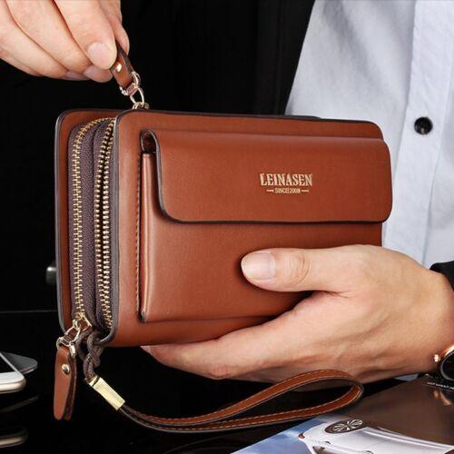 Herren Tasche Handgelenktasche Businesstasche Handtasche für Männer Braun Bag