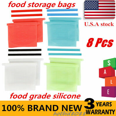 8Pcs Silicone Food Storage Bags: Reusable Snack And Sandwich Ziplock Bags for sale  Rowland Heights