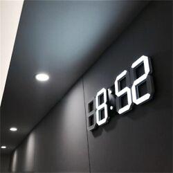Digital  Wall Clock Modern Design 3D LED Table Clock Alarm Nightlight Home Deco