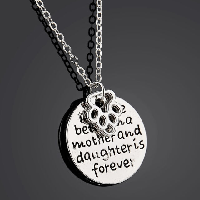 "Carved ""the love between a mother and daughter is forever"" Pendant Necklace Gift"