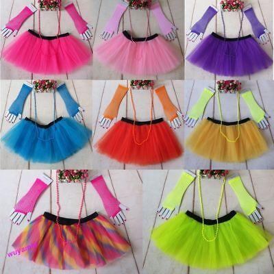 80's Fashion Tutu Skirts (Fashion 80's Neon UV Women Tutu Skirt Beads Hen Fancy Dress Party Costumes)