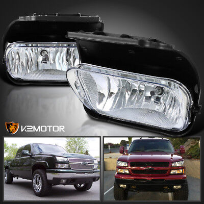2003-2006 Chevy Silverado 1500/2500/3500 Clear Bumper Driving Fog Lights+Bulbs