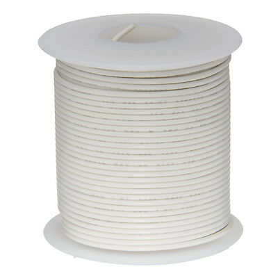 """18 AWG Gauge Solid Hook Up Wire White 25 ft 0.0403"""" UL1007 300 Volts"""