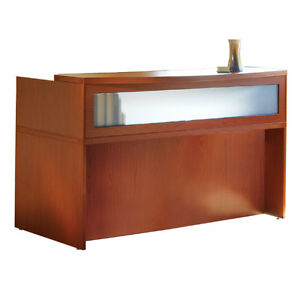 Cherry finish reception desk with textured glass - Reception desk ebay ...