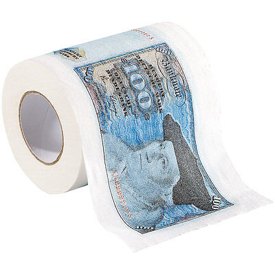 """Farbiges Klopapier: Retro-Toilettenpapier """"100 D-Mark"""", 1 Rolle"""