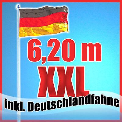 Fahnenmast inkl.Deutschlandflagge + Bodenhülse 4-tlg 6,15m Flaggenmast  VS1