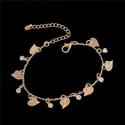 Women Love Heart 18K Gold Plated Anklet Chain Barefoot Foot Jewelry Anklet Chain