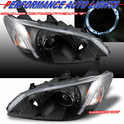 Pair Black Projector Headlights w/ Halo Rims for 2004-2005 Civic Coupe and -