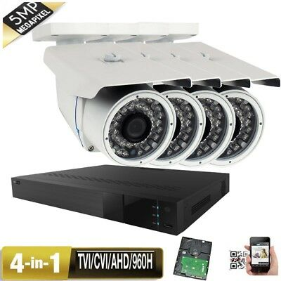 4CH 5-in-1 DVR 5MP 4-in-1 36IR Long Dis Lens Security Camera System P098