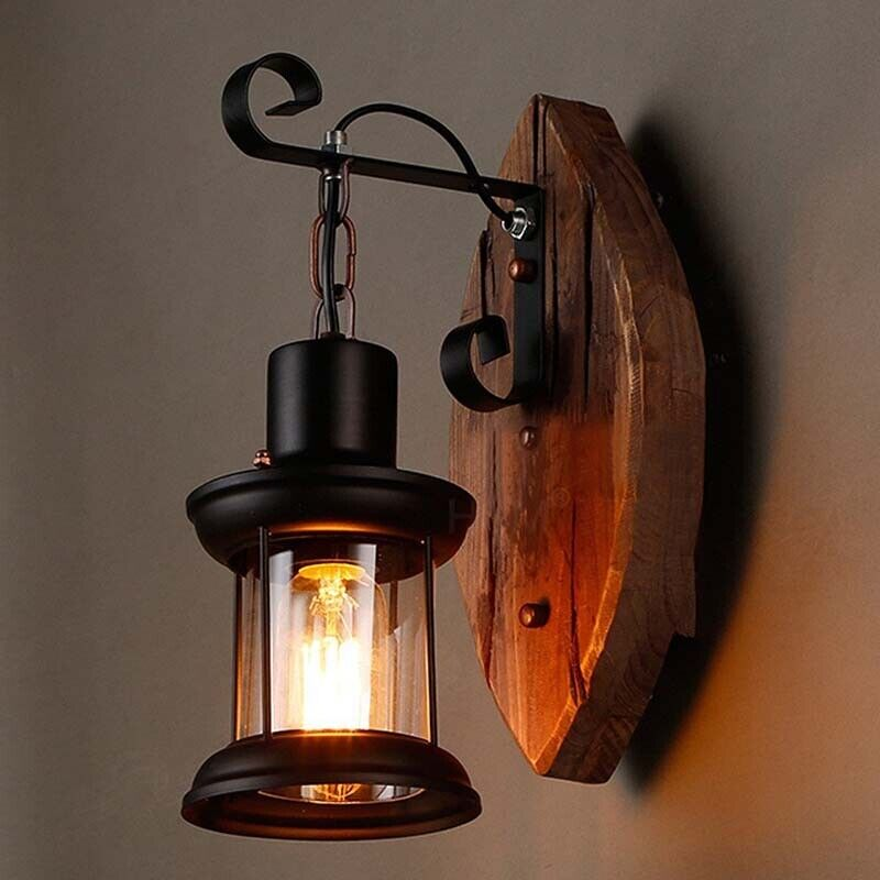 NEW Rustic Vintage E27 Retro Lantern Industrial Wall Lamp Sconce Light Fixture