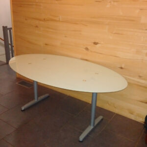 Frosted glass oval table or desk
