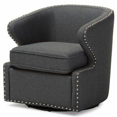 Baxton Studio Finley Swivel Accent Chair in Gray