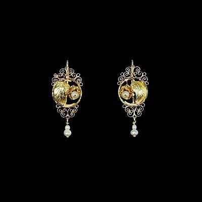 Beautiful Handmade estate yellow gold filigree earrings, seed pearl dangles M-F