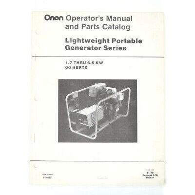Vintage Onan Lightweight Portable Generator Operators Manual Parts Catalog