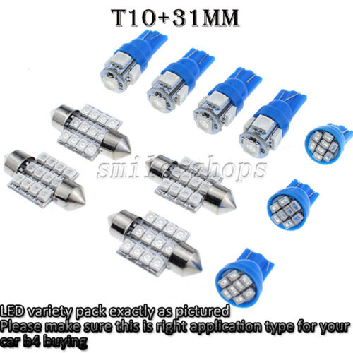 11pcs Bright Blue Interior LED Light for T10 & 31MM Map Dome + License Plate