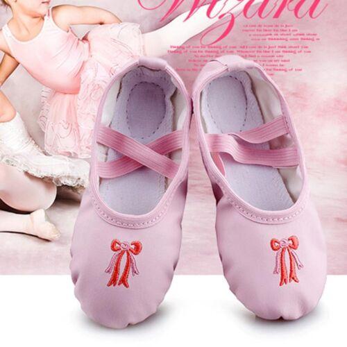 Kids Infant Girls Yoga Ballet Dance Leather Sole Slipper US