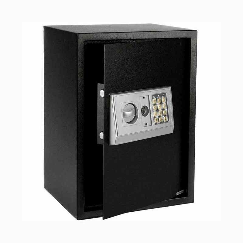 Large Digital Electronic Keypad Lock Safe Box W/Key Security Home&Office Black