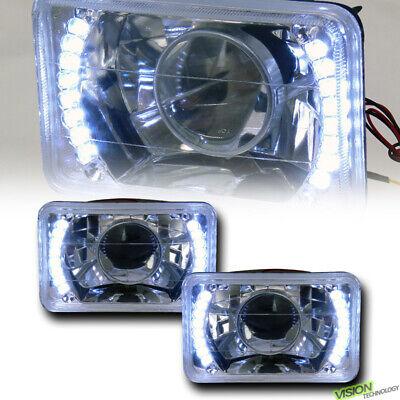 4X6 Chrome Glass Lens White Led Projector Headlights Kit H4 H4651 H4652 H4656 V2