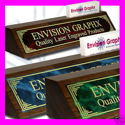 Custom Walnut Desk Name Plate Card Holder Design Gift Send Text And Brass Color