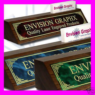 CUSTOM WALNUT DESK NAME PLATE CARD HOLDER DESIGN GIFT (Send Text and Brass Color