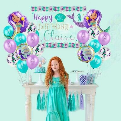 19 Pcs Mermaid Balloons Set Mylar Happy Birthday Party Supply Kids Favor Decor