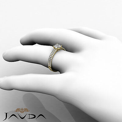 2 Row Shank French U Pave Round Diamond Engagement Ring GIA Certified E VVS1 1Ct 3