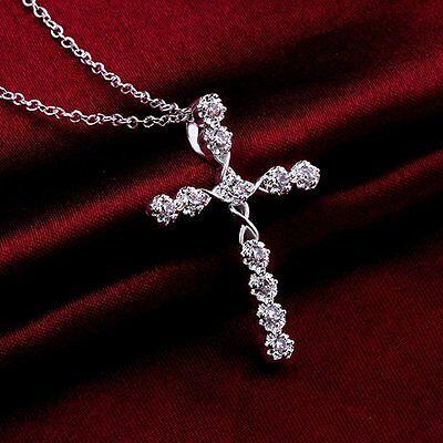 Hot Silver Crystal Cross Pendant Choker Necklace Chain Women Christmas Jewelry