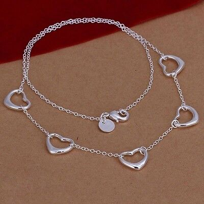 New  925 Sterling Silver Plated 5 Floating Heart Necklace Chain Jewelry   18