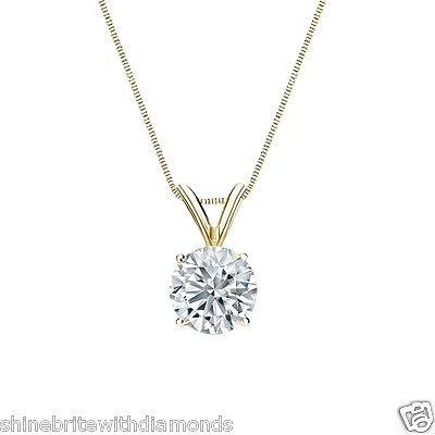 "2 Ct Round Brilliant Cut Solid 14k Yellow Gold Solitaire Pendant 18"" Necklace"